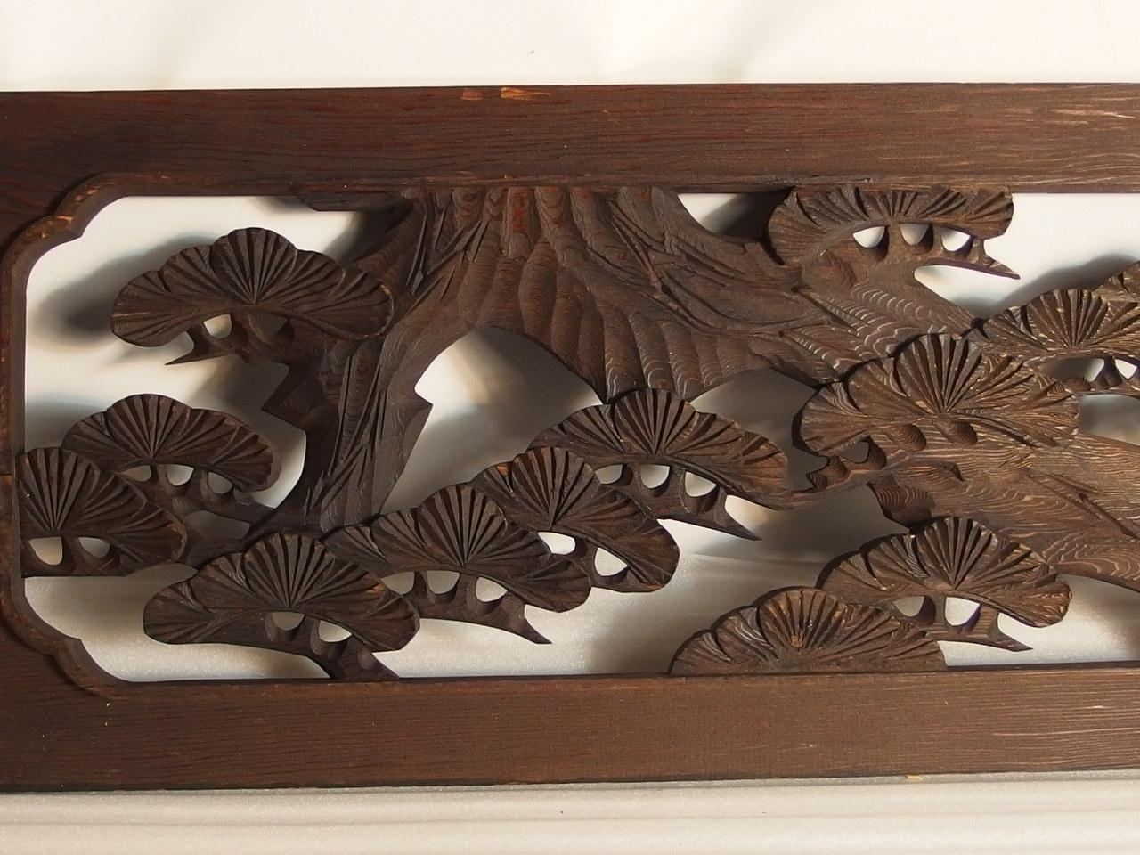 rtk5日本手雕刻木头雕塑漫画中鹰松树